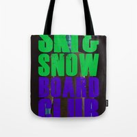 snowboard Tote Bags featuring WHS Ski and Snowboard Club by slothcats