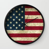 american flag Wall Clocks featuring American Flag by Nechifor Ionut