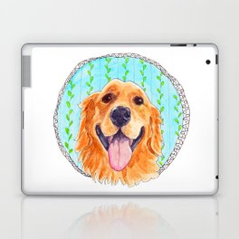 You're Never Fully Dressed without a Smile, Golden Retriever, Whimsical Watercolor Painting, White Laptop & iPad Skin