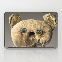 hologram iPad Cases featuring Sad Mentalembellisher Poet Teddy Bear With Hologram Eyes by mentalembellisher