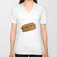 hot dog V-neck T-shirts featuring Hot Dog by Tuesday Logan