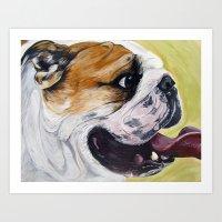 english bulldog Art Prints featuring English Bulldog  by WOOF Factory