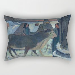 Christmas Night, The Blessing of the Oxen, Gauguin Rectangular Pillow