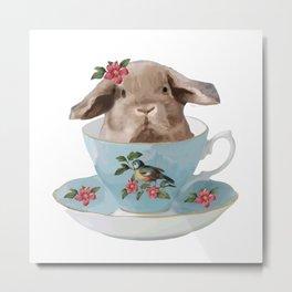 Baby Bunny Tea Time Metal Print