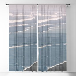Tropical Beach Sunset - Nature Photography Sheer Curtain