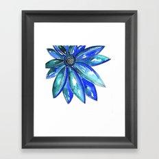 Blue Watercolor flower Framed Art Print