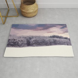 Winter landscape with snow, trees and a pastel sky Rug