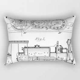 Steam Train Patent - Steam Locomotive Art - Black And White Rectangular Pillow