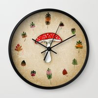 mushrooms Wall Clocks featuring Mushrooms by Minasmoke