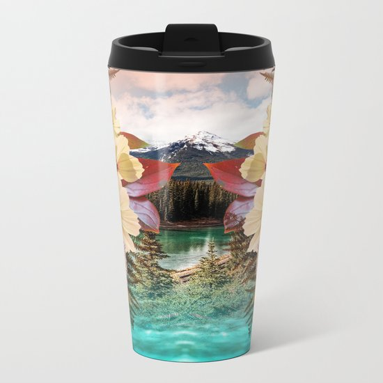 Flowers Mountain Lake Cloud Snow, Forest Metal Travel Mug