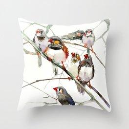 Birds, Cute birds Zebra Finch Art, Pet bird, Nursery, Children room Throw Pillow