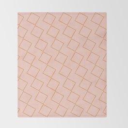 Tilting Diamonds in Peach Throw Blanket