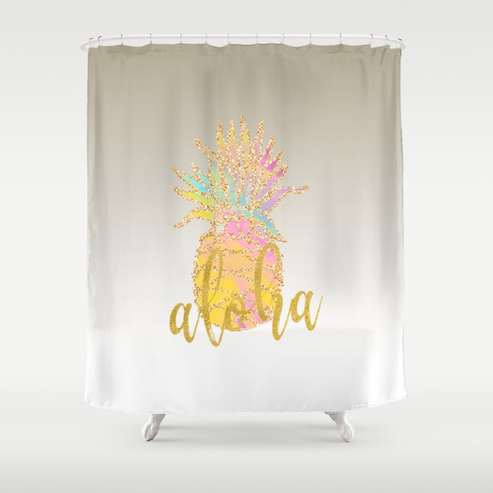 Metallic Silver Faux Gold Glitter Tropical Aloha Pastel Pineapple Shower Curtain
