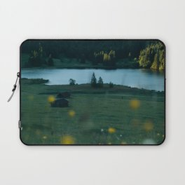 Sunrise at a mountain lake with forest - Landscape Photography Laptop Sleeve