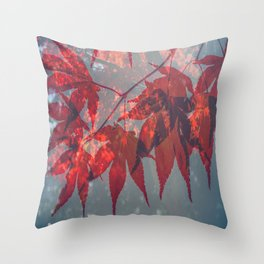 Red Leaves in Autumn Throw Pillow