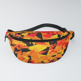 geometrical cubist orange and yellow triangle shapes against black background Fanny Pack