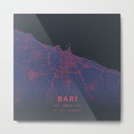 Bari, Italy - Neon Metal Print
