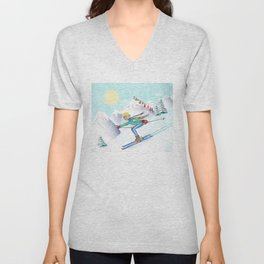 Skiing Girl Unisex V-Neck