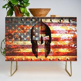 American Flag And Spartan Helmet On Rusted Metal Door - Molon Labe Credenza