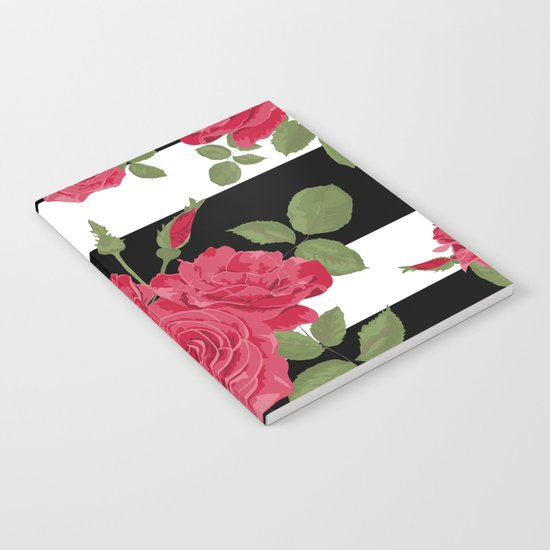 Red roses with horizontal stripes black white Notebook