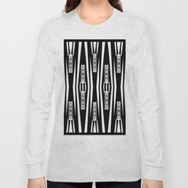 Geometric Black and White Tribal-Inspired Pattern Long Sleeve T-shirt
