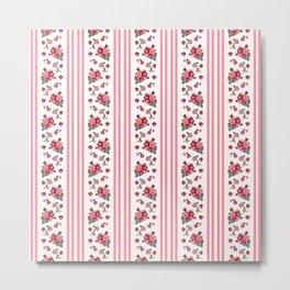 Vintage Floral Stripes - Coral Rose Metal Print