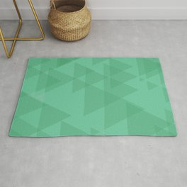 Light lime triangles in intersection and overlay. Rug