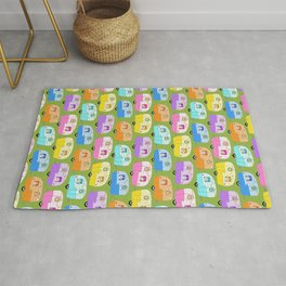 Xmas Retro Campers Trailers Christmas Pattern Green Rug