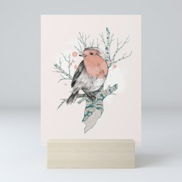 Robin on Birch Mini Art Print