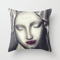 madonna Throw Pillows featuring Michelangelo Madonna  by augusta marya