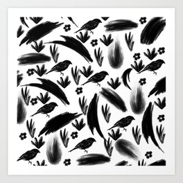 Hand painted black watercolor bird floral brushstrokes Art Print