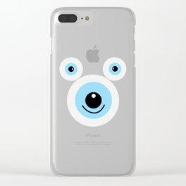 Funny polar bear face Clear iPhone Case