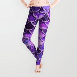 Pantone Ultra Violet Glitter Ombre Mermaid Scales Pattern Leggings