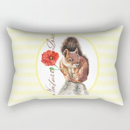 Red squirrel with red poppy Rectangular Pillow