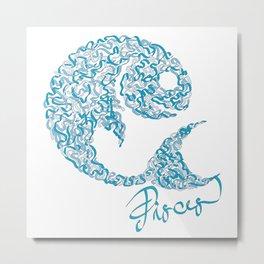 Pisces Line Metal Print