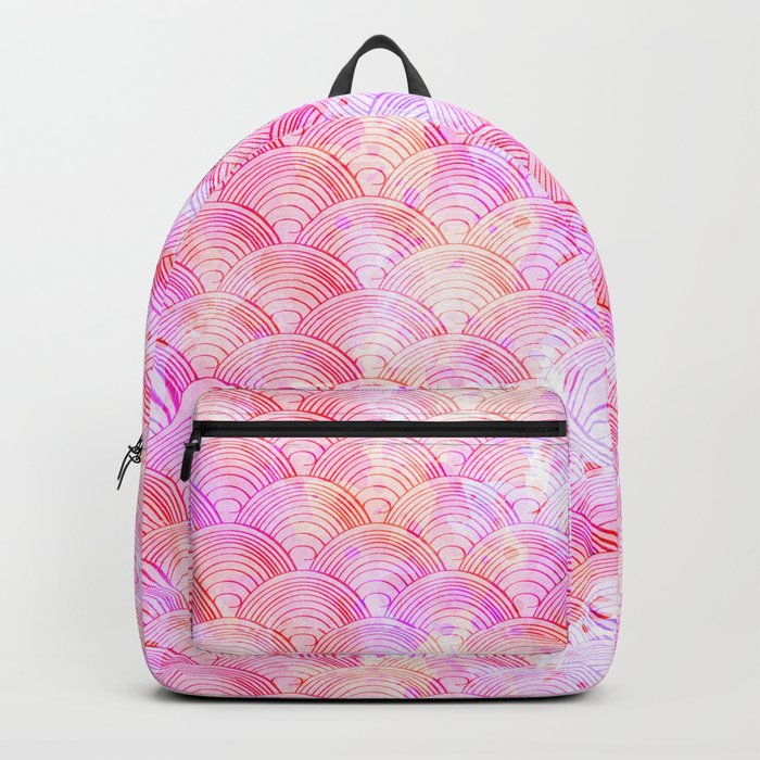 Pink waves pattern Backpack