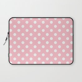 Small Polka Dots - White on Pink Laptop Sleeve