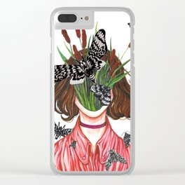 Moth Girl Clear iPhone Case