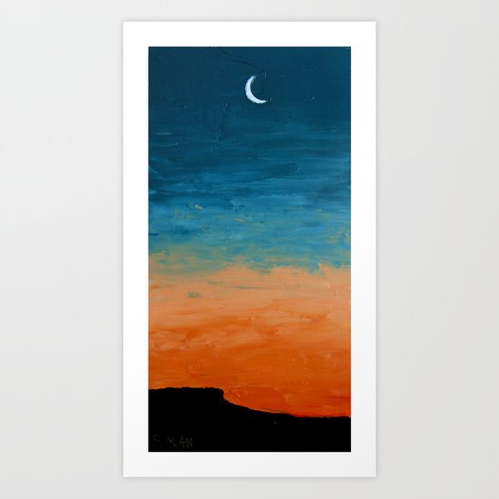 Pre-Dawn Moonrise, painting Art Print