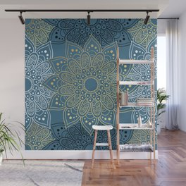 GOLDEN MANDALA ON BLUE Wall Mural