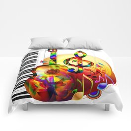Colorful  music instruments painting, guitar, treble clef, piano, musical notes, flying birds Comforters