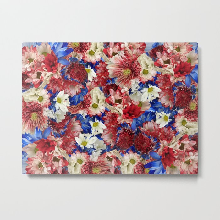 Red White Blue Flora Metal Print