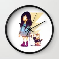 pigs Wall Clocks featuring Pirate Pigs by FlyOkay