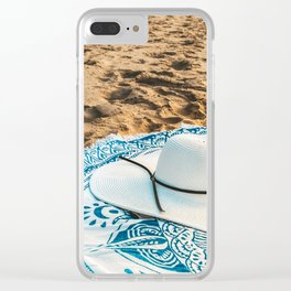 Travel Photography, White Beach Hat, Summer Vacation, Holiday Time, Beauty Accessories, Ocean Decor Clear iPhone Case