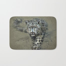 Snow leopard background Bath Mat