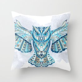 Blue Ethnic Owl Throw Pillow