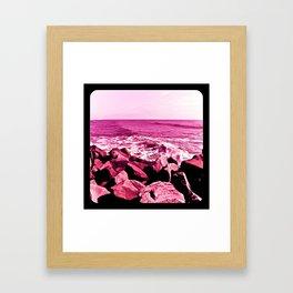 South Jetty Rocks, Sunset Beach, PacificOcean, Oregon Coast Framed Art Print