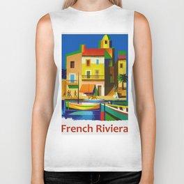 Vintage French Riviera Travel Ad Biker Tank