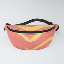 Coral and Gold Bird Stamp on Tan Fanny Pack