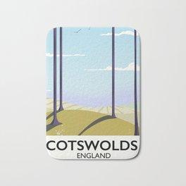 Cotswolds landscape travel poster Bath Mat